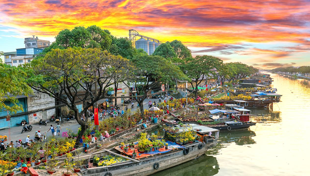 địa điểm chụp ảnh Tết 2021 ở bến Bình Đông
